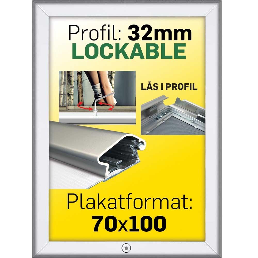 ... Lu00e5sbar Snap-Frame m 32 mm Alu/elox. profil - - Poster: 70 x 100 cm