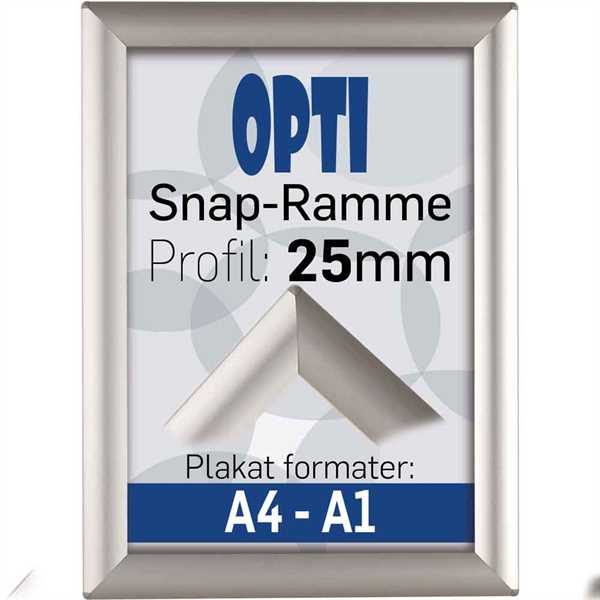 Opti Snap-Ramme, 25 mm Alu