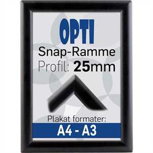 OPTI klapramme 25 mm profil Sort