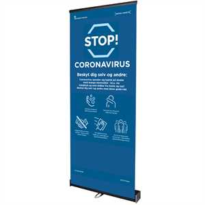 Corona advarsel - Square Roll-Up med banner - 80 x 200 cm